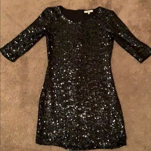 BB Dakota Black Sequin Dress 3/4 Sleeve